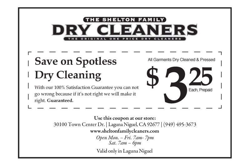 image regarding Printable Dry Cleaning Coupons named Laguna Niguel Coupon Shelton Loved ones Cleaners